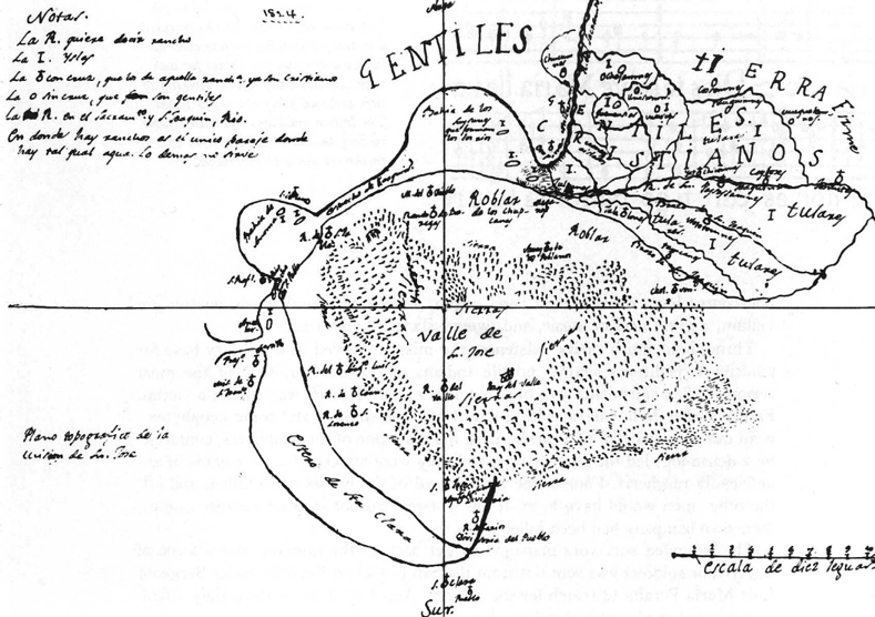 Padre Narciso Duran's 1924 map, Courtesy, the Bancroft Library