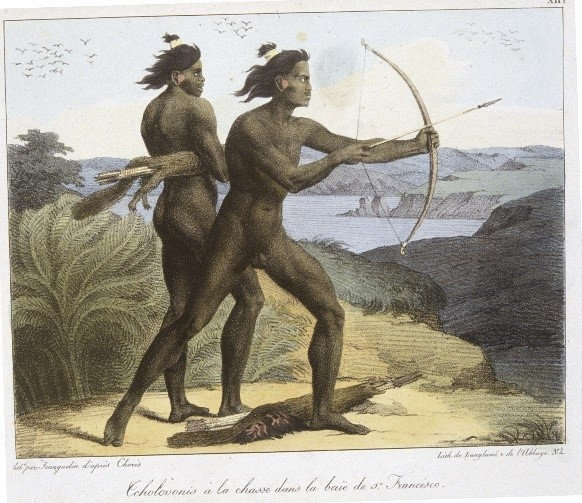Yokuts warriors by Louis Choris in 1816, Courtesy, The Bancroft Library