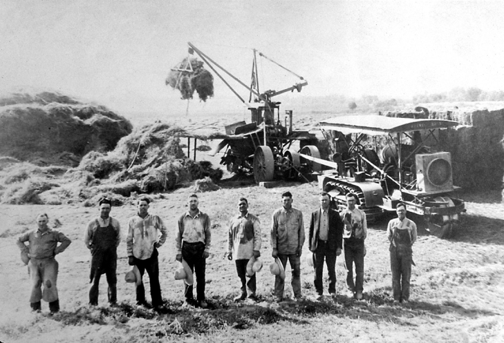 Hay baling in Green Valley around 1920