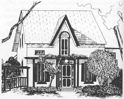 Drawing of the original home by Chris Arnott in the Valley Pioneer