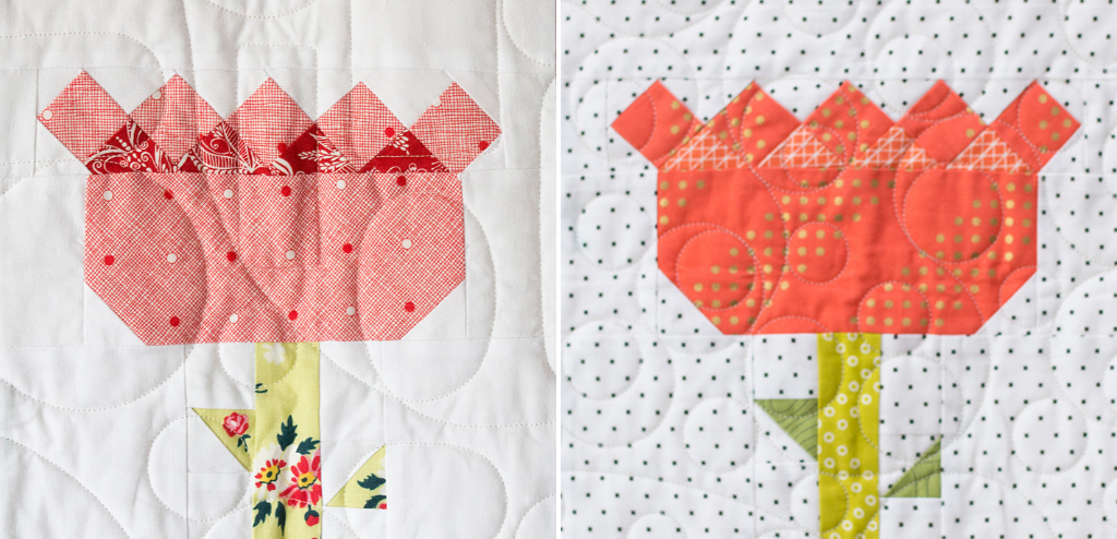 Stretch your quilting skills wth the Tulip Block from the Heartland Heritage Block of the Month pattern. This scrappy quilt from the gals at Inspiring Stitching is the perfect design for building your quilting skills.