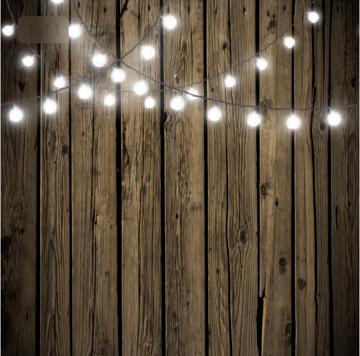 Dark wood with string lights