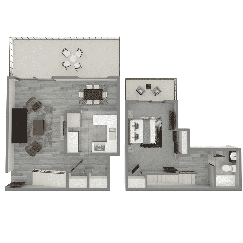 1 Bed, 1 Bath townhome 940 Sq. Ft. Floor plan