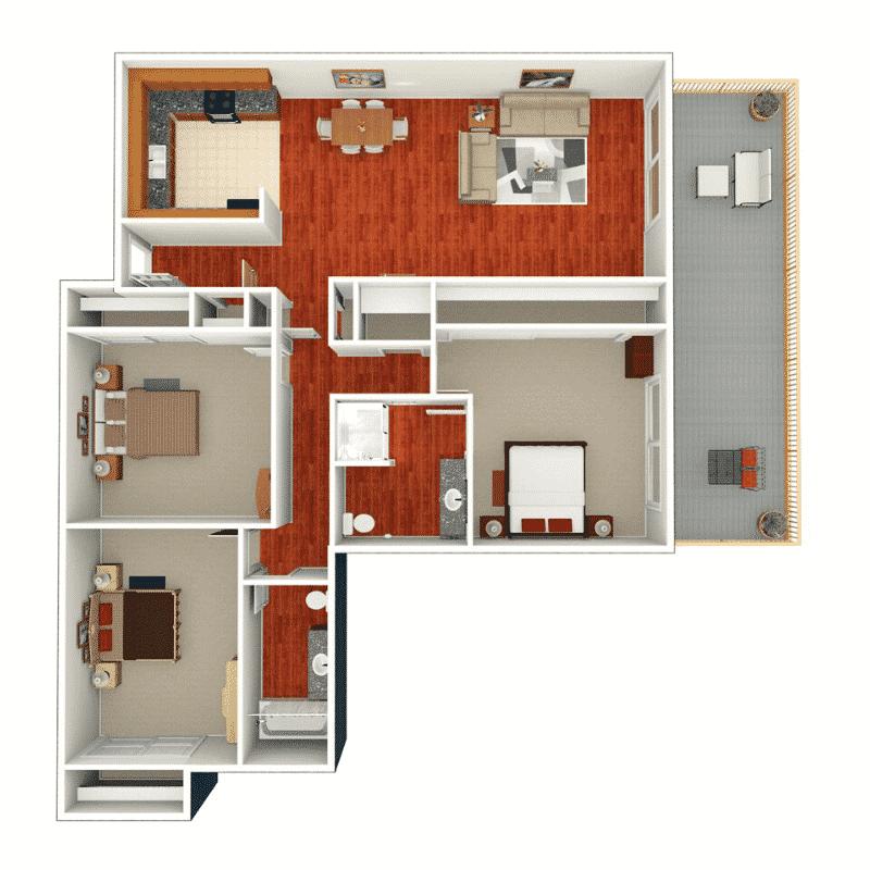 3 Bed, 2 Bath 1,560 Sq. Ft. floor plan