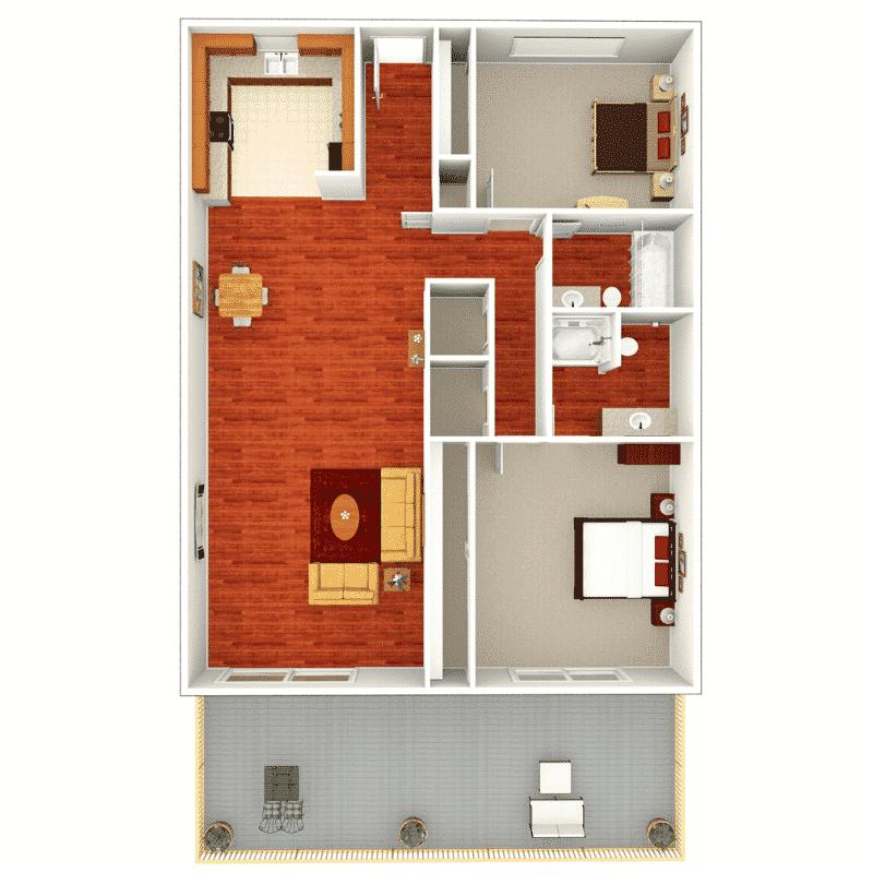 2 Bed 2 Bath  1,1040 Sq. Ft. Floor plan