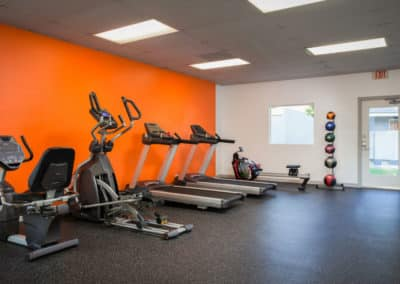 Cardio Machines and medicine balls in the fitness center with orange wall