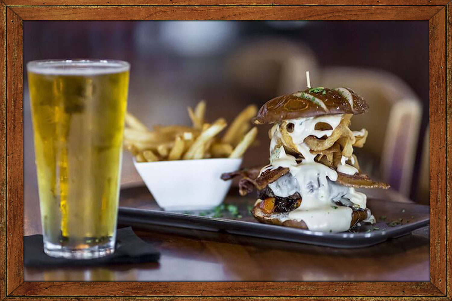 Beer, Fries, and Burger with Melting Cheese