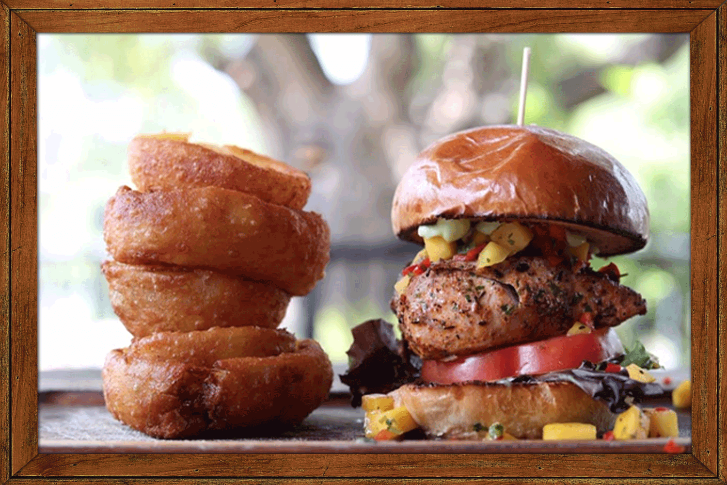 Teak Burger with Onion Rings