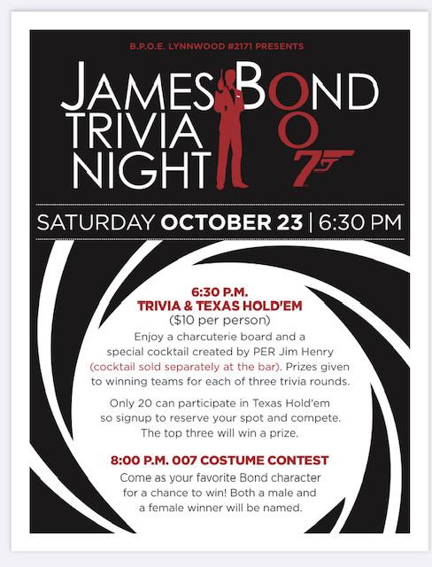 Oct 23 – Bond Trivia and Texas Hold 'Em