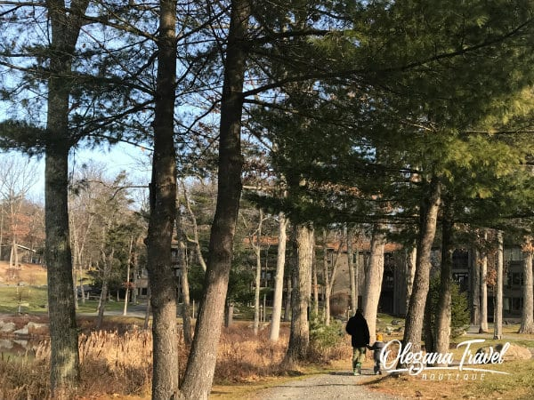 Peaceful grounds at Woodloch are perfect for a stroll around the lake