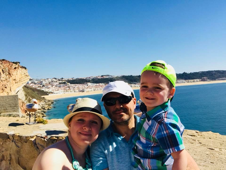 Travel agent, husband, and son exploring Nazare Portugal