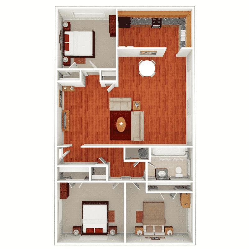 3 BED 1 BATH 1,113 Sq. Ft. floor plan