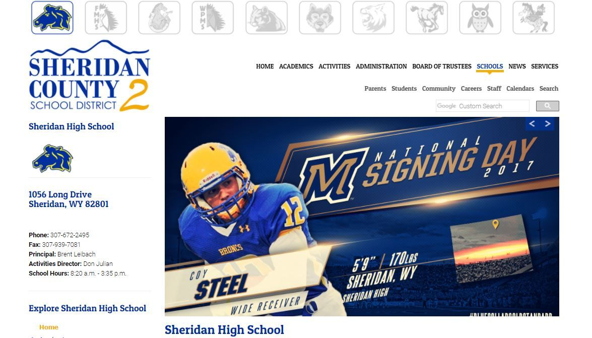 Sheridan County School District 2 website created by Confluence Collaborative