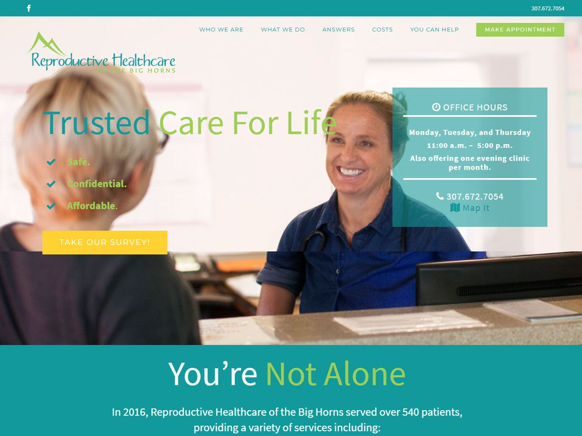 Reproductive Healthcare of the Big Horns website created by Confluence Collaborative