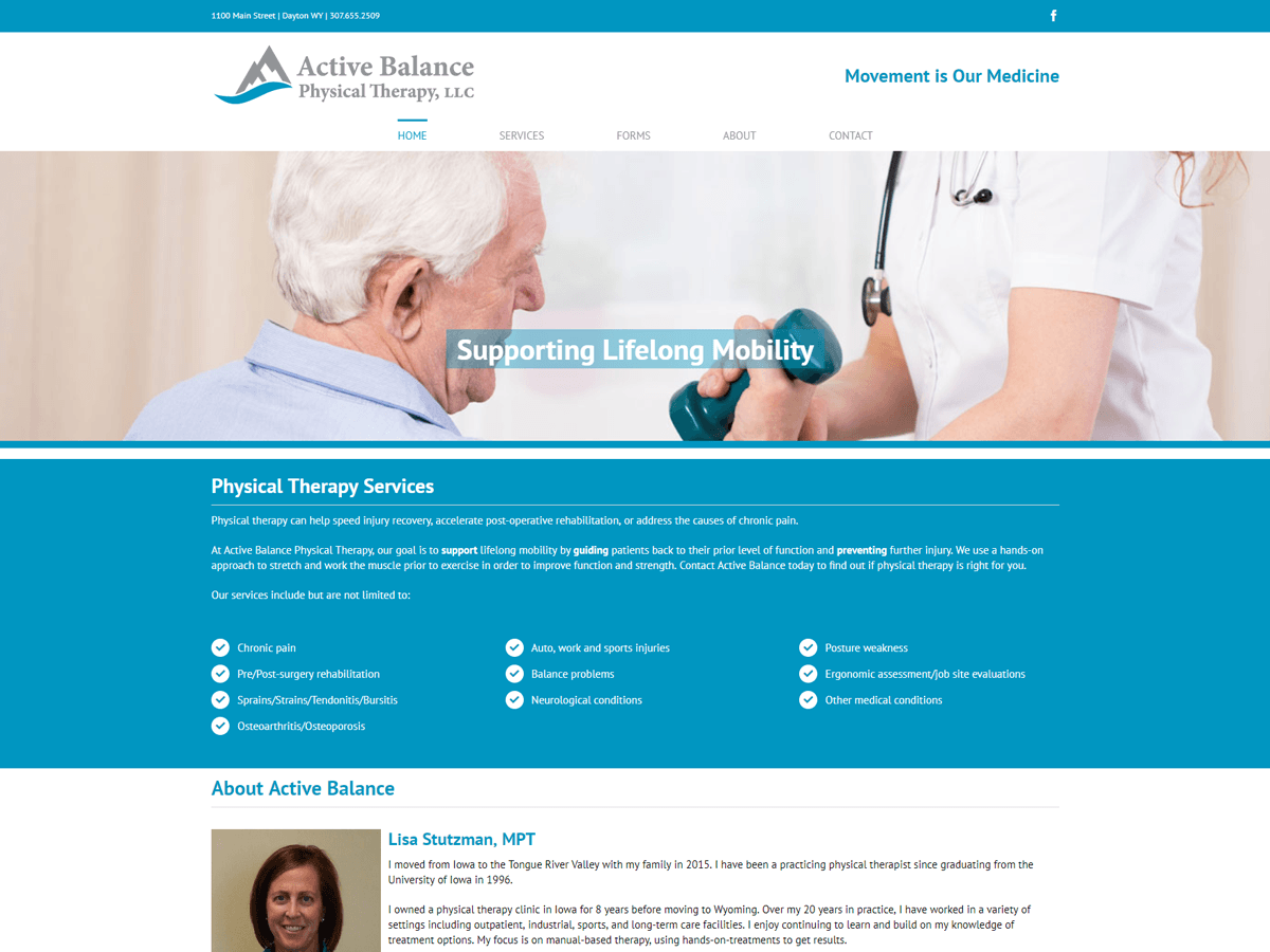 Active Balance Physical Therapy website created by Confluence Collaborative