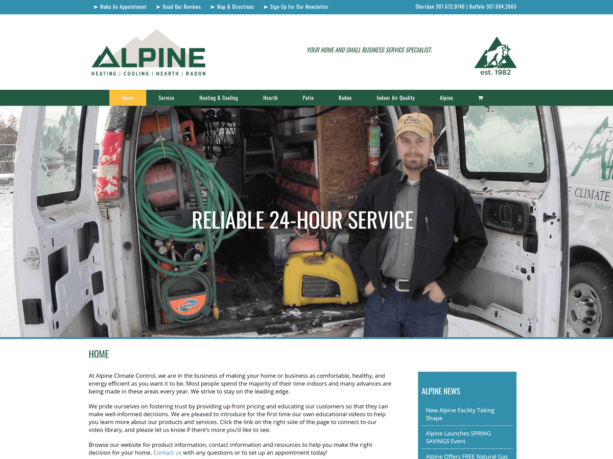 Alpine Climate Control website created by Confluence Collaborative