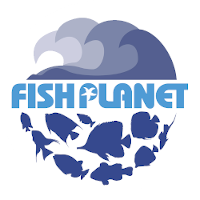 Fish Planet Logo with Blue Fish Swimming Below Store Name and Blue Waves