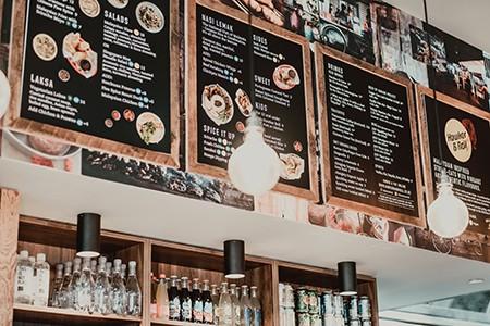 Attractive menu board by Stryker Designs in Pflugerville, Texas
