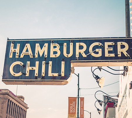 Restaurant signs for Hamburger Chili in Pflugerville, TX