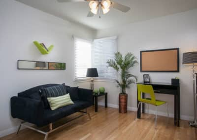 Living room with couch and decor