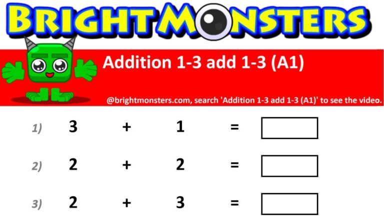 Bright Monsters – Addition 1-3 add 1-3 (A1)