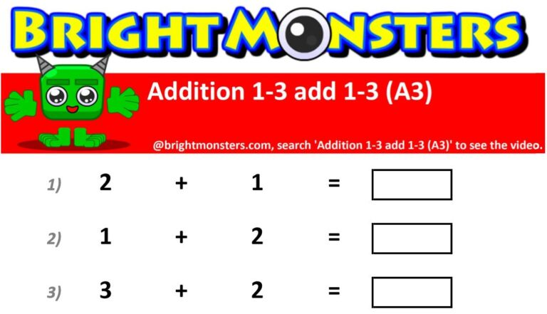 Bright Monsters – Addition 1-3 add 1-3 (A3)