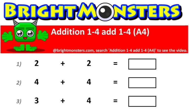 Bright Monsters – Addition 1-5 add 1-5 (A7)