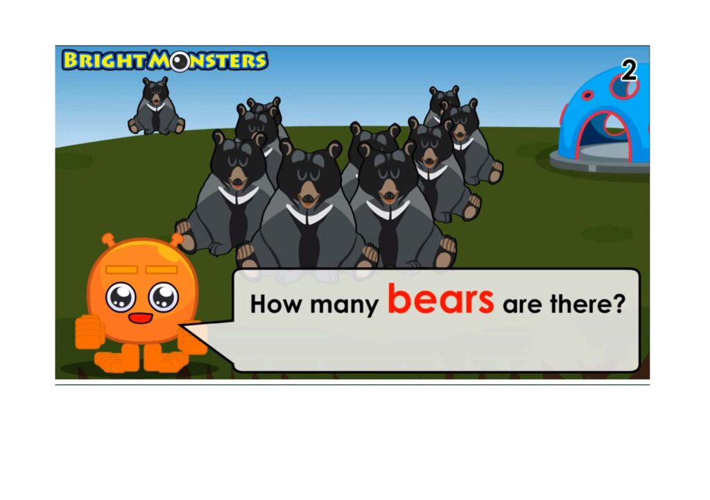 Learning to count to 10 bears.