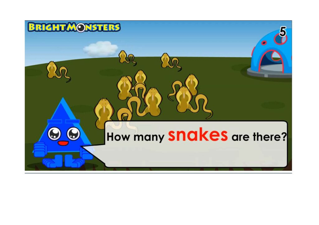Bright Monsters - Counting 9 snakes.