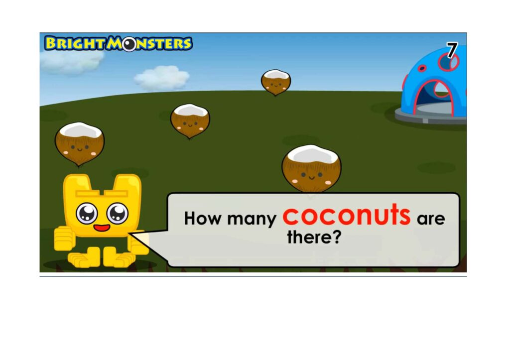 Bright Monsters - Counting 4 coconuts.