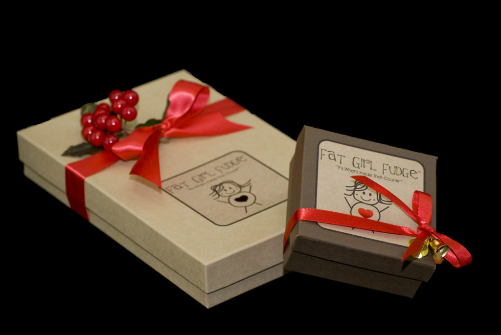 Custom boxes with labels and ribbon