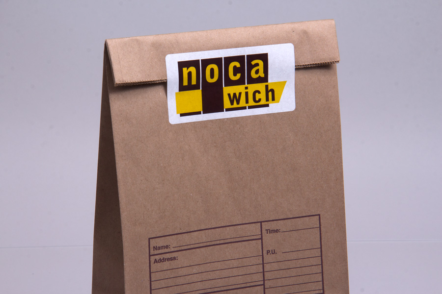 Noca sandwich bag sealed with a branded label