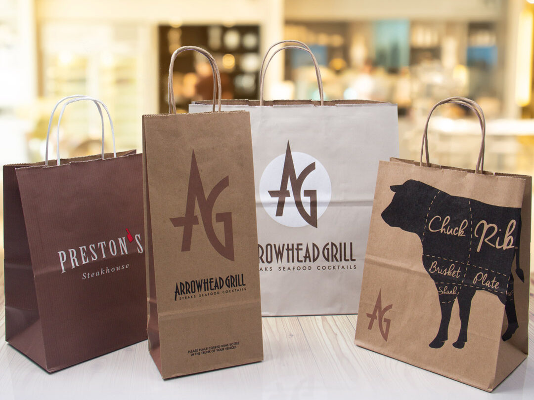 Custom printed paper takeout bags for restaurants