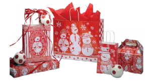 Holiday printed paper shopping bags and gift bags