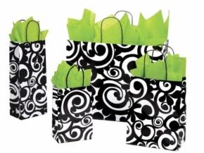 Scroll Print Paper Shopping Bags