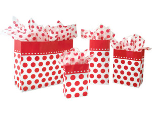 Red Cherry Polka Dots Paper Shopping Bags