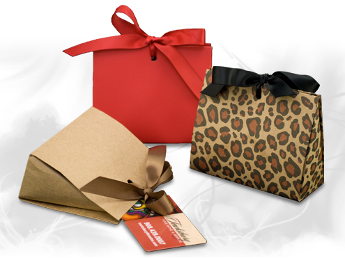Ribbon tied purse gift boxes
