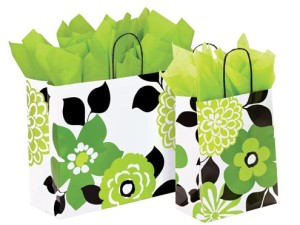Bold Floral Print Paper Shopping Bags