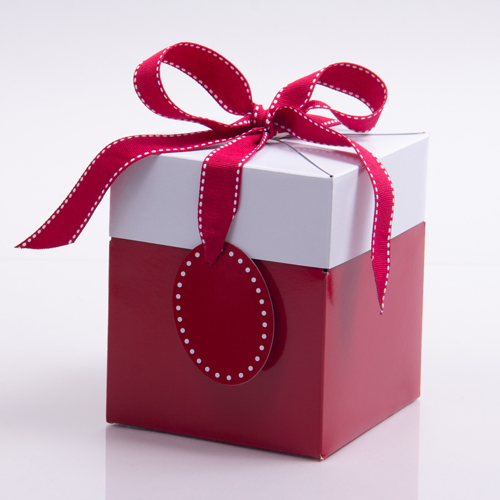 Sophie red gift box with ribbon tie and tag