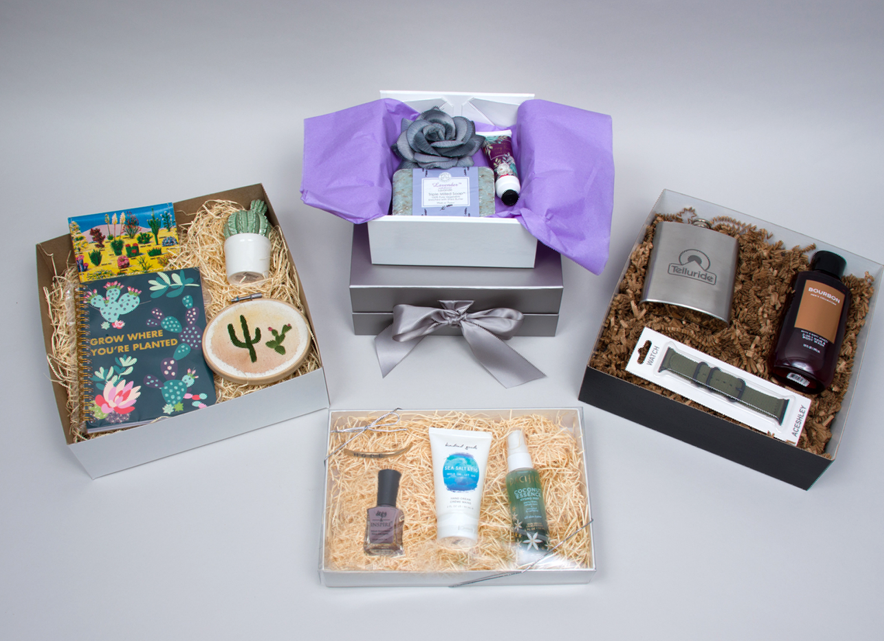 Curated gift box sets with their packaging