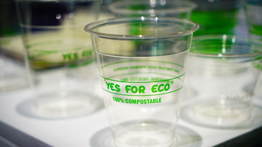 A clear cup made from compostable bio-plastic