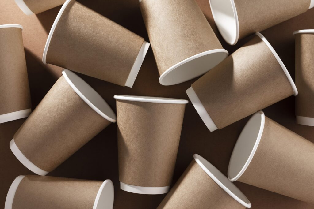 Disposable paper coffee cups.