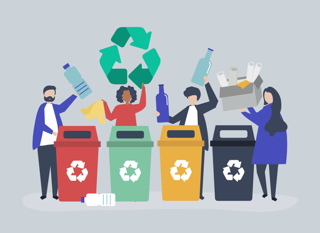 Stock image of animated people recycling.