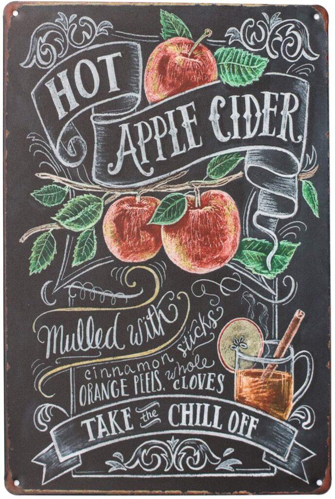 "Hot Apple Cider Tin Sign (12""x8"")"