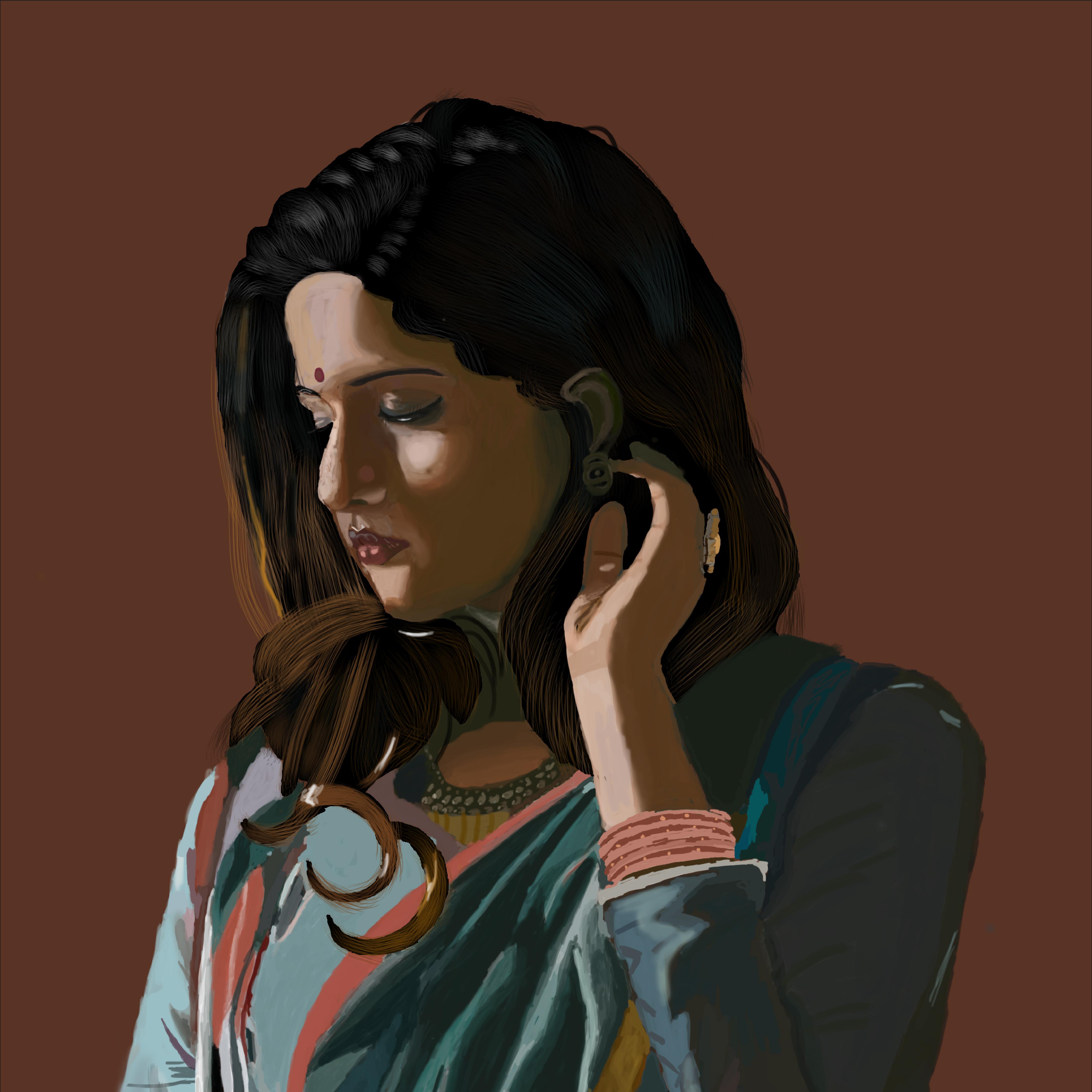 women digital painting