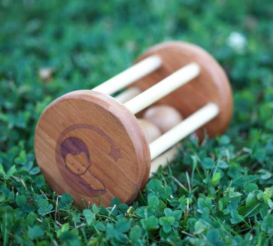 little wooden wonders large wooden rattle