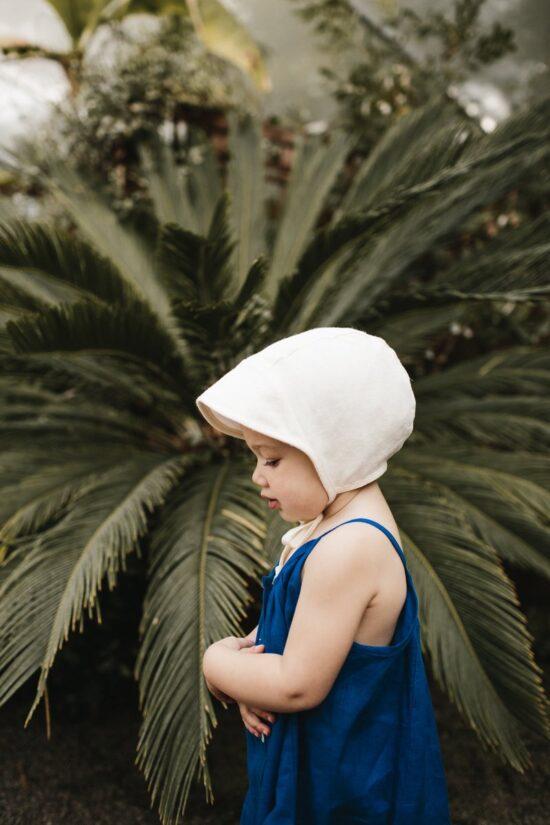 brimmed ivory linen bonnet