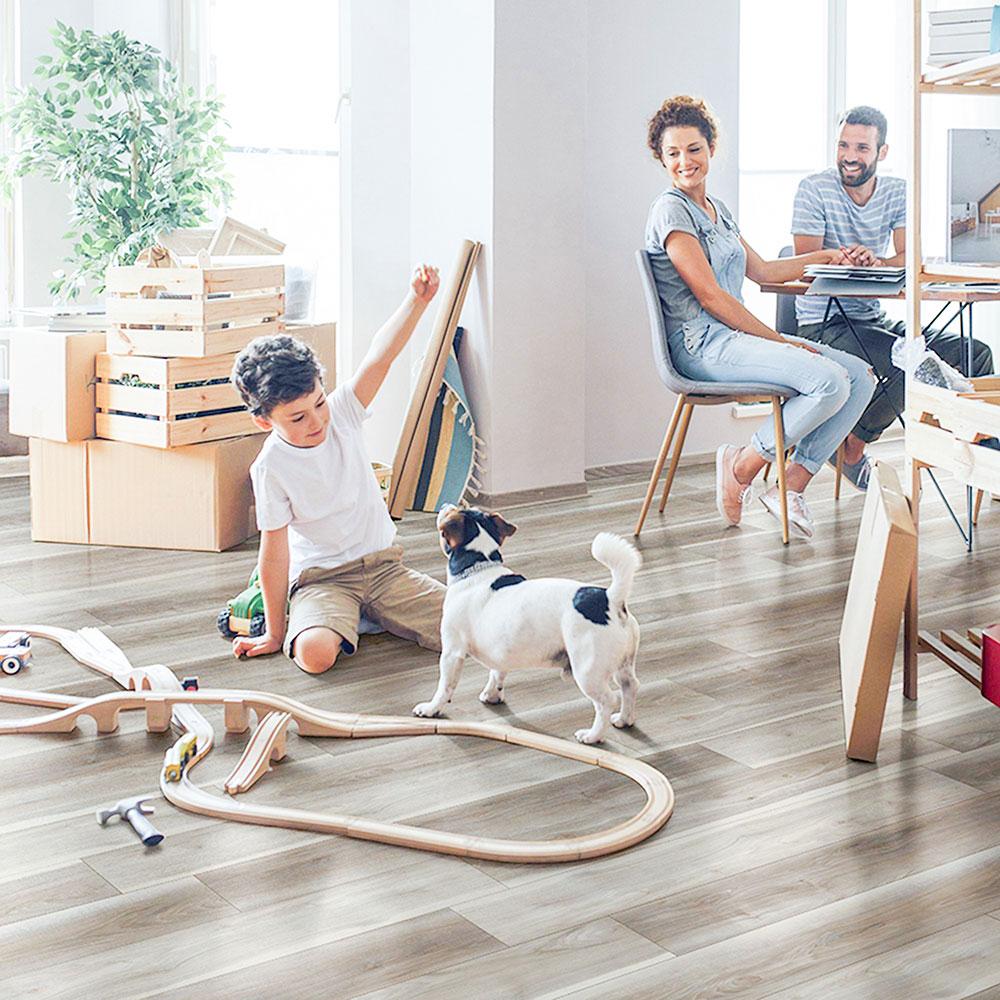 family in modern home