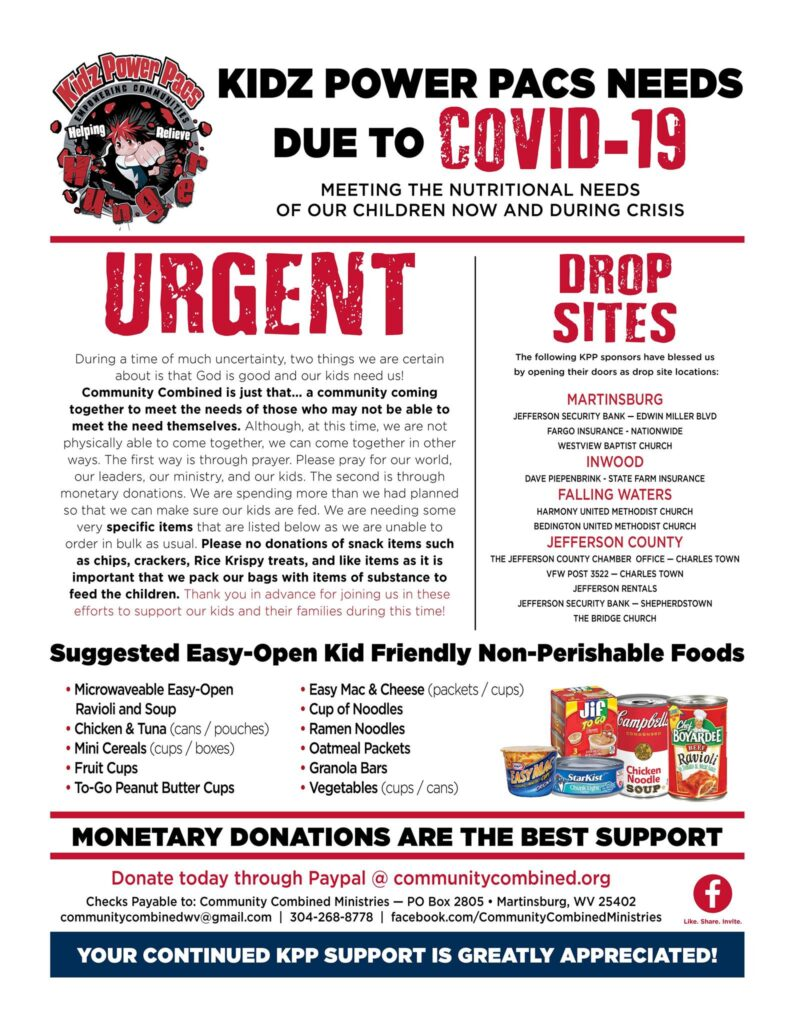 Kidz power pac urgent money and food needs due to covid 19 - monetary donations are the best support