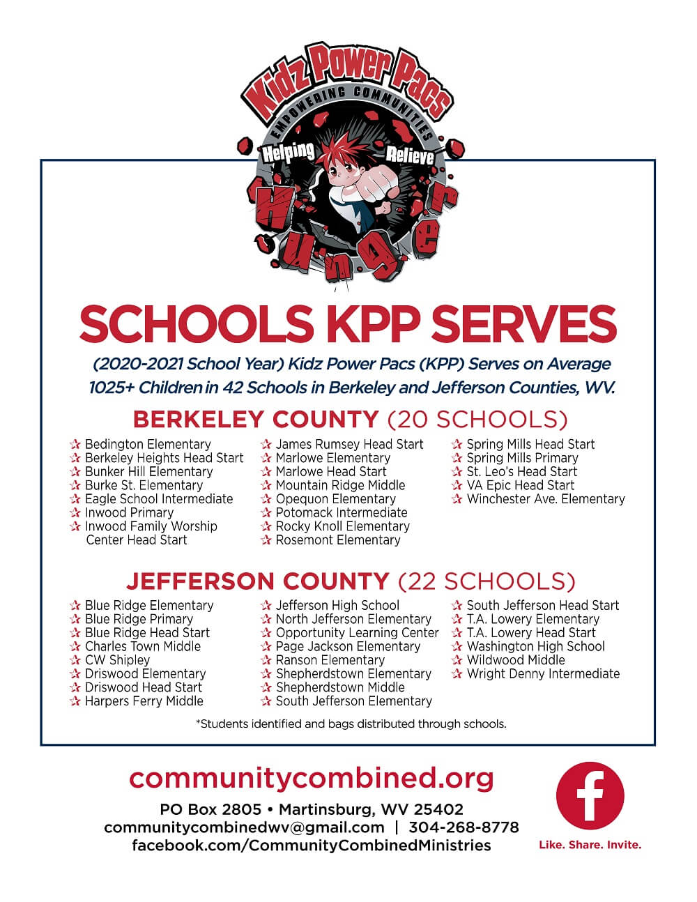 KPP serves 20 schools in berkeley county and 22 jefferson